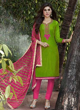Green Art Silk Straight Pant Suit