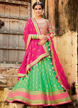 Green Art Silk Umbrella Lehenga Choli