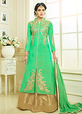 Green Art Silk Umbrella Lehenga