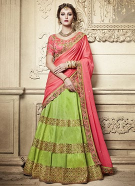 Green Art Silk Umbrella Lehenga