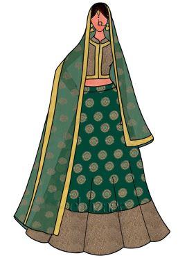 Green Art Silk Umbrella Lehenga Set