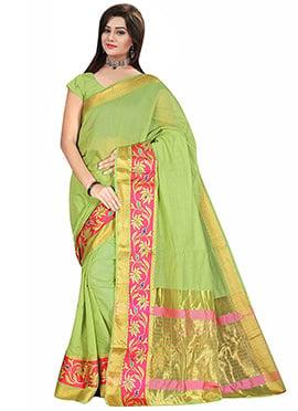 Green Art Tussar Silk Saree