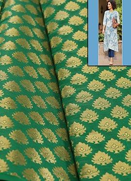 Green Artsilk Brocade Dress Material