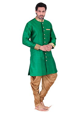 Green Benarasi Art Silk Achkan Sherwani
