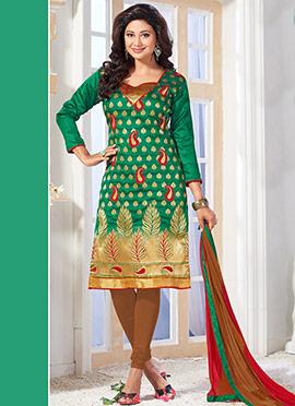 Green Benarasi Art Silk Churidar Suit
