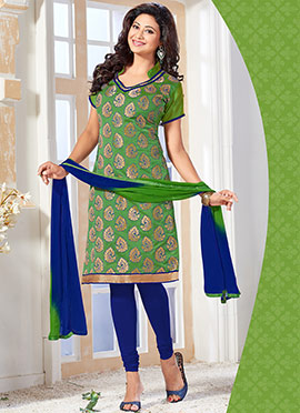 Green Benarasi Art Silk Churidar Suit