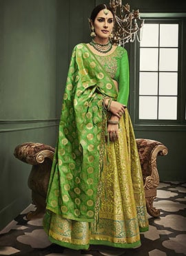 Green Benarasi Art Silk Umbrella Lehenga