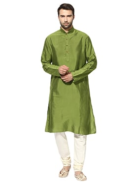 Green Benarasi Cotton Silk Kurta