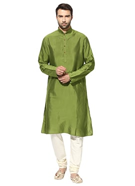 Green Benarasi Cotton Silk Kurta Pyjama