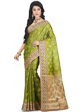 Green Benarasi Pure Silk Saree