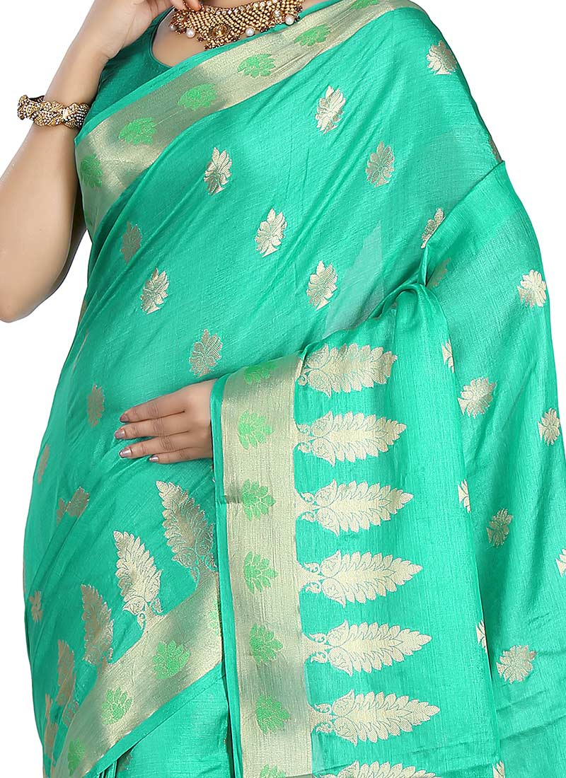 Buy turquoise green benarasi pure silk saree sari online