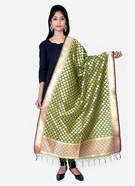 Green Benarasi Silk Dupatta