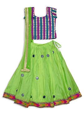 Green Benarasi Silk Kids A Line Lehenga