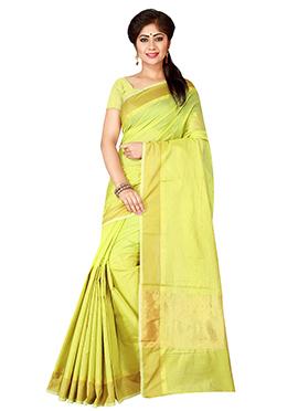 Green Bengal Handloom Tant Saree