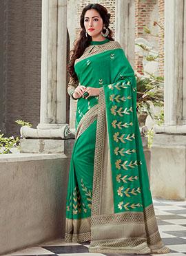 Green Bhagalpuri Art Silk Embroidered Saree