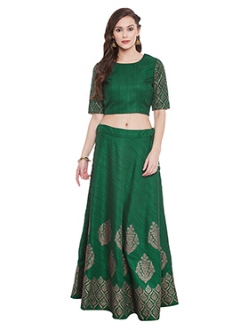 Green Bhagalpuri Dupion Umbrella Lehanga choli