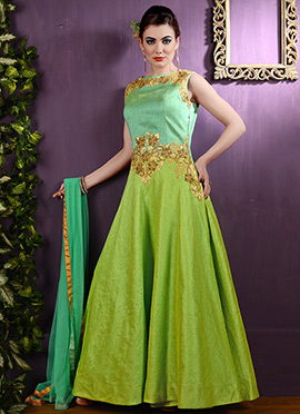 Green Bhagalpuri Silk Anarkali Suit