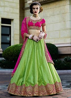 Green Bhagalpuri Silk Umbrella Lehenga