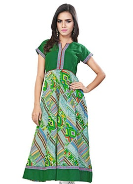 Green Blended Cotton Anarkali Kurti