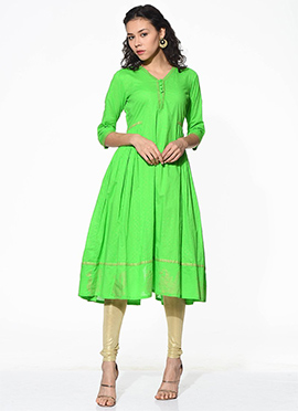Green Blended Cotton Flared Kurti