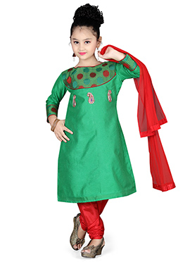 Green Blended Cotton Kids Churidar Suit