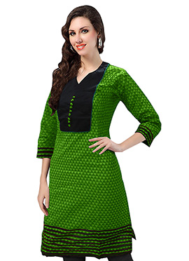 Green Blended Cotton Kurti