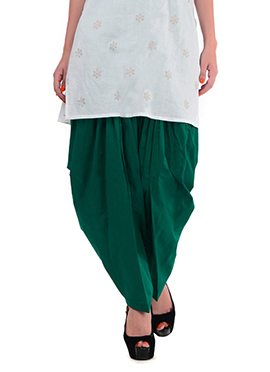 Green Blended Cotton Patiala Pant