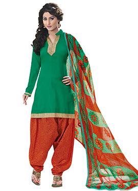 Green Blended Cotton Salwar Suit