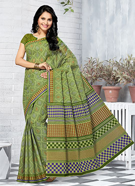 Green Blended Cotton Saree