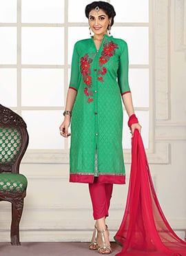 Green Blended Cotton Straight Pant Suit