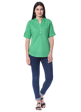 Green Blended Cotton Top