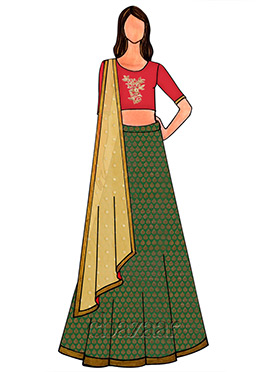 Green Brocade Embroidered Lehenga Set
