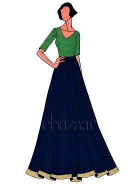 Green Brocade Skirt Set