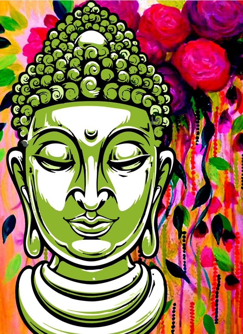 Buy green buddha canvas wall art online shopping hwadme1009 for Buy canvas prints online