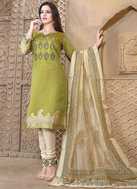 Green Chanderi Art Silk Churidar Suit