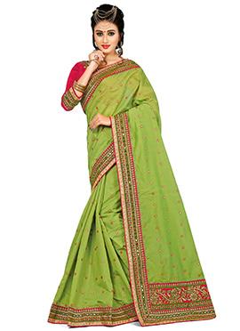 Green Chanderi Art Silk Saree