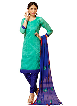 Green Chanderi Churidar Suit