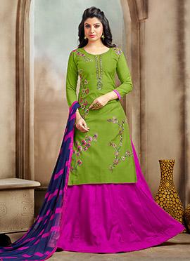 Green Chanderi Cotton A Line Lehenga