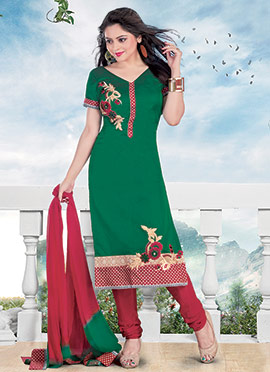 Green Chanderi Cotton Churidar Suit