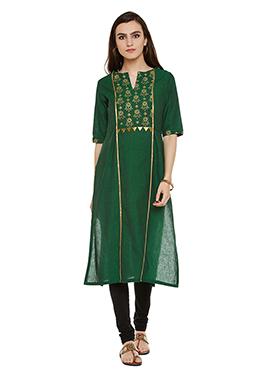 Green Chanderi Cotton Kurti