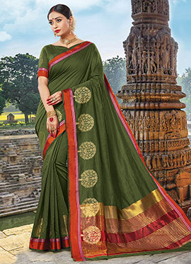 Green Chanderi Cotton Saree