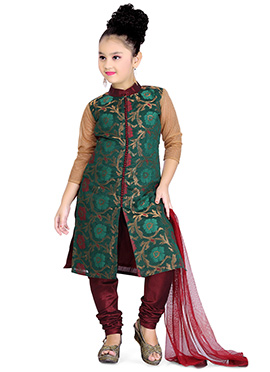 Green Chanderi Net Kids Churidar Suit
