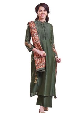 Green Chanderi Pure Silk Palazzo Suit