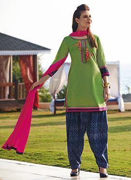 Green Chanderi Silk Salwar Suit