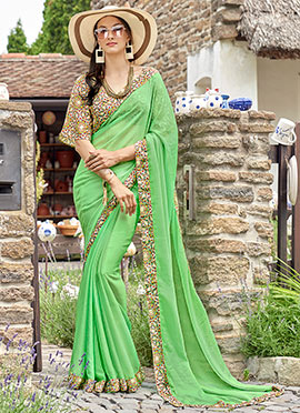 Green Chiffon Border Saree
