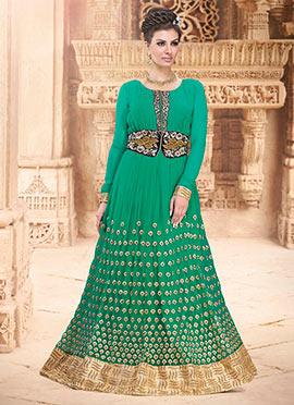 Green Chiffon Floor Length Anarkali Suit