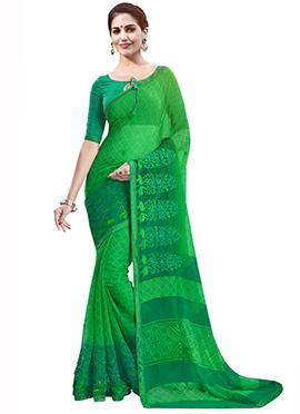 Green Chiffon Foliage Designed Saree