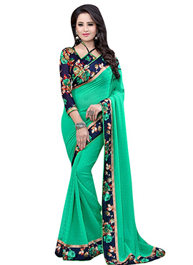 Green Chiffon Printed Border Saree