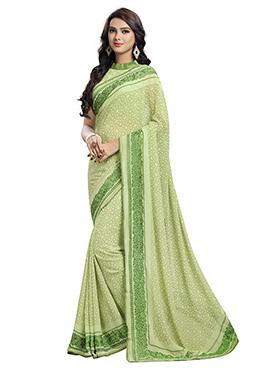 Green Chiffon saree