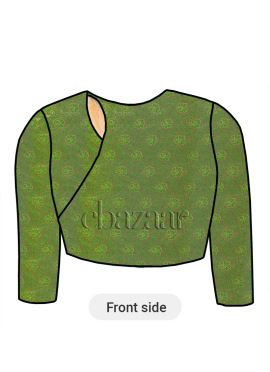 Green Close Neck Embroidered Blouse